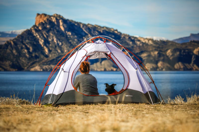 Camping with a dog next to a lake